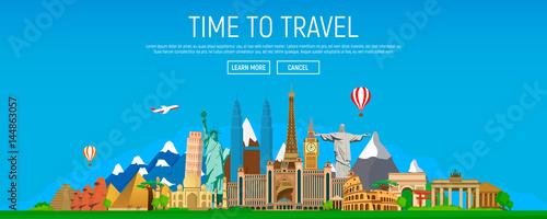 Time to travel. Set of famous landmarks of the world. Concept website template. Modern flat design, vector illustration.