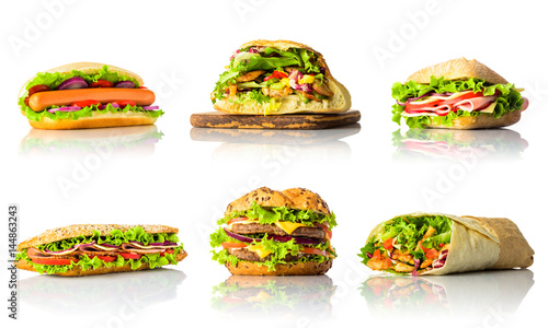 Staande foto Snack Collage with Sandwiches and Burger on White Background