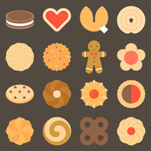 Set Of Assorted Cookies In Flat Design Icon, Such As Gingerbread,chocolate Chip, Pinwheel, Spiral, Heart Shape, Sandwich And Fortune Cookies