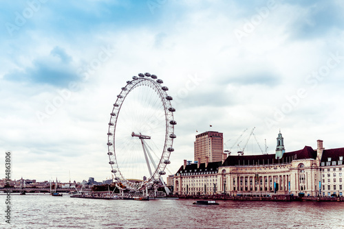 Fotomural Street view of  London Eye and River Thames London, United Kingdom