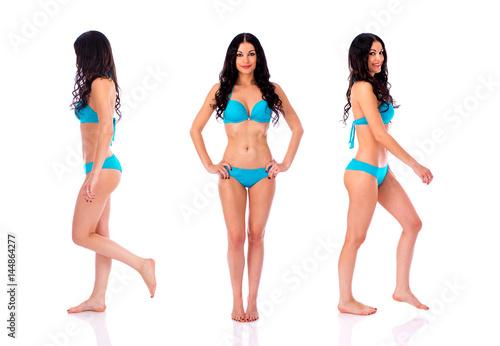 Fototapeta Full length portrait of young girls wearing blue bikini obraz na płótnie