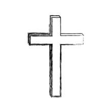 Monochrome Sketch Contour Of Wooden Cross Vector Illustration