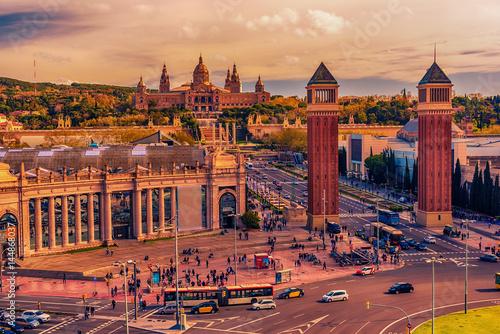 Plakat Widok z lotu ptaka z góry Barcelona, Katalonia, Hiszpania. Palau National, National Palace, Narodowe Muzeum Sztuki Katalonii