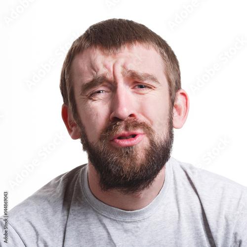 Sad man with unhappy facial expression, close-up Canvas-taulu