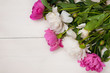 Background for invitation, congratulation with peonies flowers