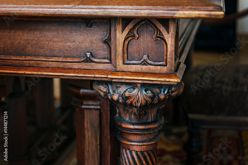 Photo Part of antique wooden table