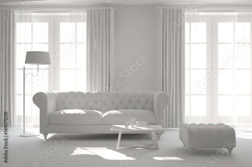 Fototapeta White room with sofa. Scandinavian interior design. 3D illustration obraz na płótnie