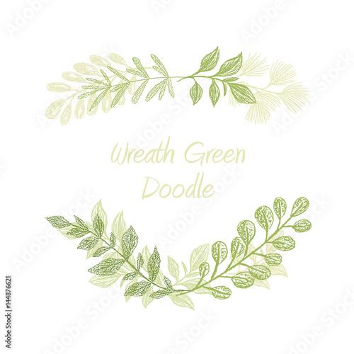 Green floral doodle branch border vector greeting invitation or green floral doodle branch border vector greeting invitation or wedding card template hand stopboris Gallery