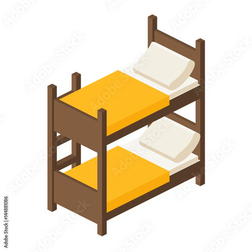 Bunk Bed With Stairs Wooden Bunk Bed In Isometric View Bed For