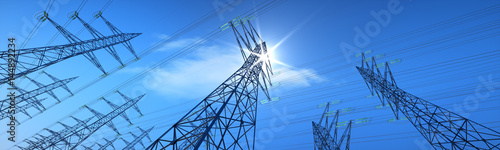 Fotografia Hochspannungsleitungen im Sonnenlicht Querformat