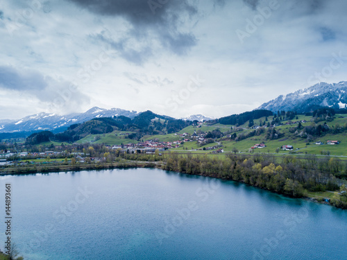 Photo Stands Lavender Aerial view on lake with dramatic clouds
