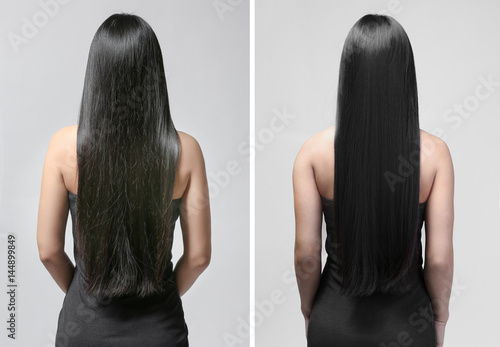 Beautiful young woman with long straight hair on light background Fototapete