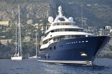 Super Yacht At Anchor In Monaco