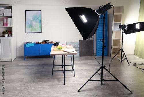 Fototapeta Photo studio with professional lighting equipment while shooting food obraz na płótnie