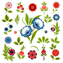 Set  of flowers and berries for decoration, greeting cards, frames