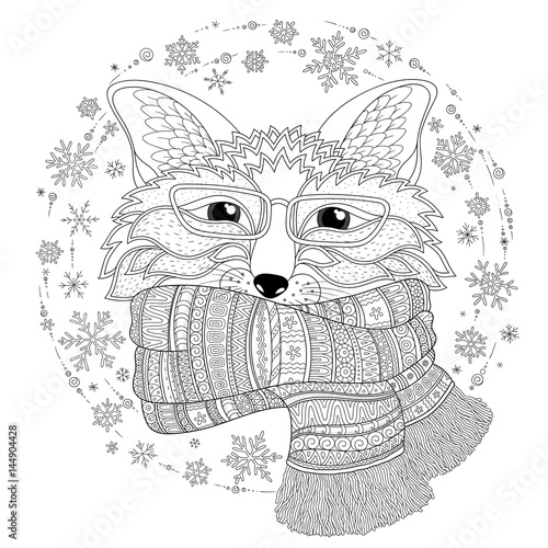 Photo sur Toile Croquis dessinés à la main des animaux Fox is wearing a scarf. Coloring page