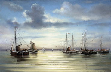 FototapetaFishermens, boats, ships.Sea landscape paintings.