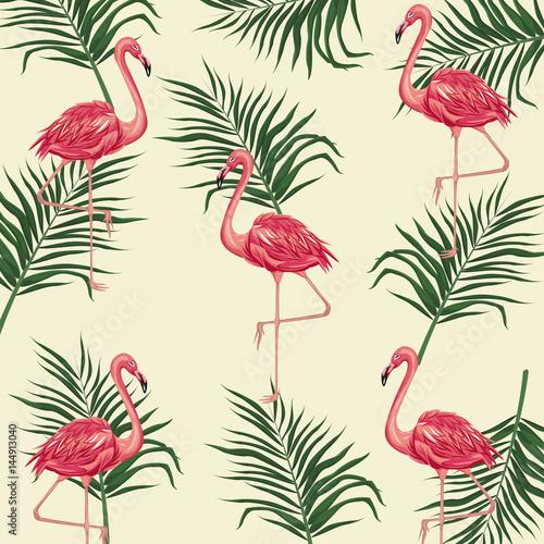 Fototapeta wzór z flamingami i liśćmi palmy