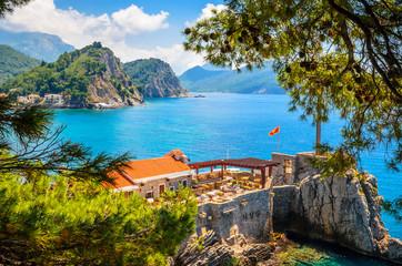 Beautiful mediterranean landscape - town Petrovac, Montenegro.