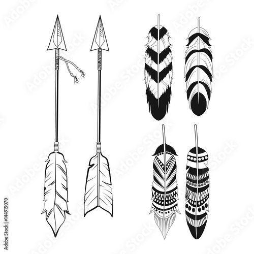 Foto auf AluDibond Boho-Stil free spirit feathers and arrows ornament vector illustration eps 10