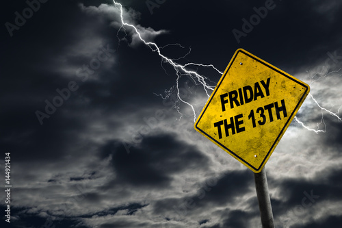 Fotografering Friday the 13th Sign With Stormy Background