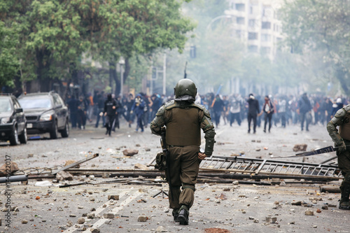 Riot Police in Chile Canvas Print