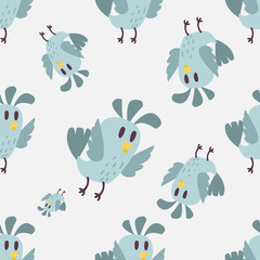 Cute birds seamless pattern vector illustration cartoon colorful