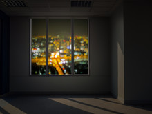 Window View At Night, Blur City View Outside