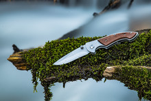 Folding Knife Laying On A Moss...