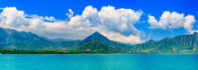 Panoramia Of Tropical Lagoon And Lush Mountains And The Ocean In Oahu, Hawaii