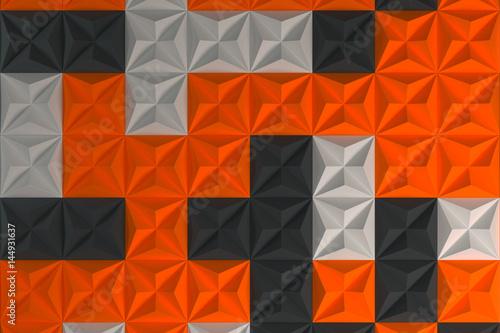 Fototapeta wzór w białe, czarne i pomarańczowe piramidy 3D