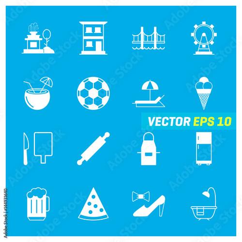 Photo  Set of 16 Mix Icons on Blue Background. EPS 10