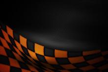 Orange And Black Carbon Fiber Background.