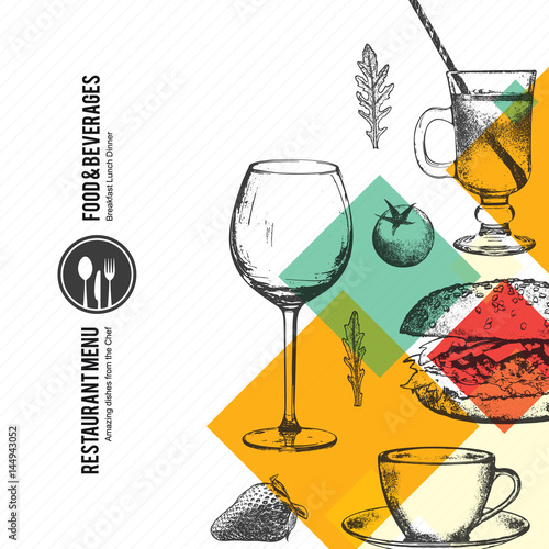Restaurant menu design vector brochure template for