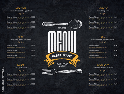 Obraz Restaurant menu design. Vector menu brochure template for cafe, coffee house, restaurant, bar. Food and drinks logotype symbol design. With a sketch pictures - fototapety do salonu