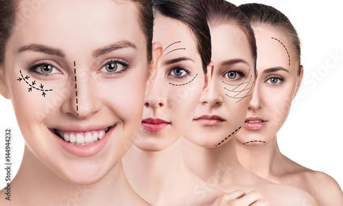 Plakat Twarze kobiety ze strzałkami do podnoszenia