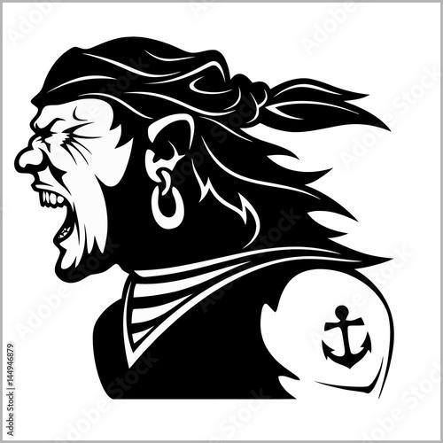Furious pirate - Screaming sailor Canvas Print