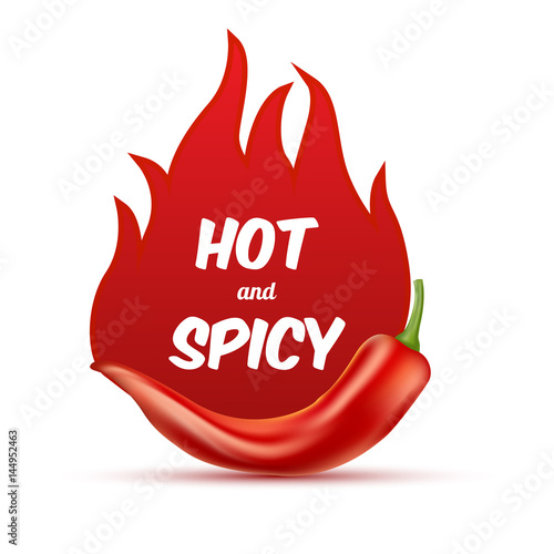 Fotografie, Obraz  Extra hot and spicy chili paper poster, badge or banner template with fire, isolated on white background