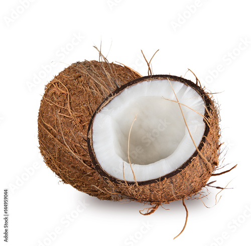 Stampa su Tela  close-up of a coconuts on white background