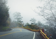 Mountain Road In Taiwan On A F...