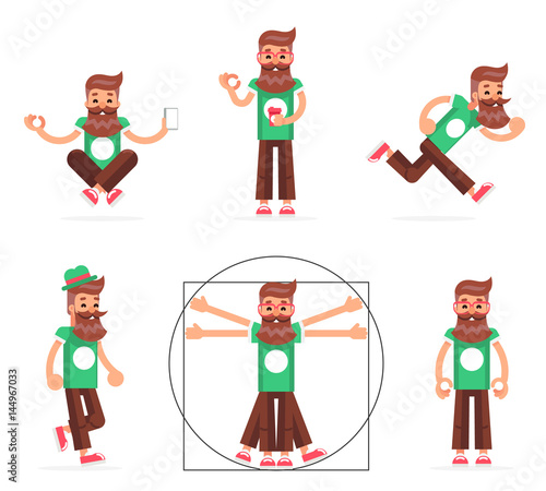 Hipster Geek Stand Run Walk Meditate New Smartphone Mobile Apps Technology Enlightenment Cartoon Character Icons Symbol Set Flat Design Template Vector Illustration Buy This Stock Vector And Explore Similar Vectors At