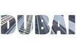 Word DUBAI over symbolic places.