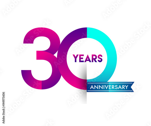 Fotomural thirty years anniversary celebration logotype colorful design with blue ribbon,