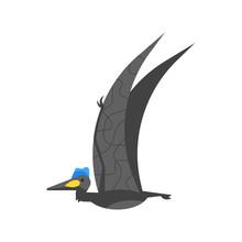 Vector Flat Style Illustration Of Prehistoric Animal - Quetzalcoatlus.