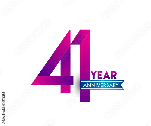 Fotografia  forty one years anniversary celebration logotype colorful design with blue ribbo