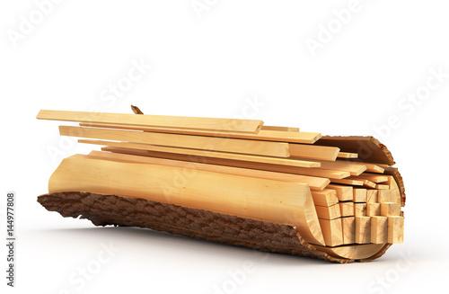 Tranches de bois de la bûche. Illustration 3D Poster