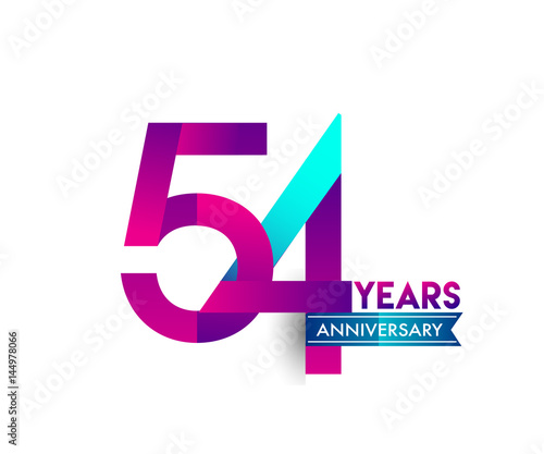 Fotografia  fifty four years anniversary celebration logotype colorful design with blue ribb
