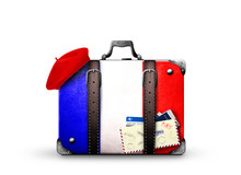 France, Vintage Suitcase With ...