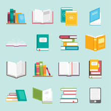 Icons Of Books Vector Set In A...
