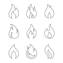Burning Fire Outline Icons On ...